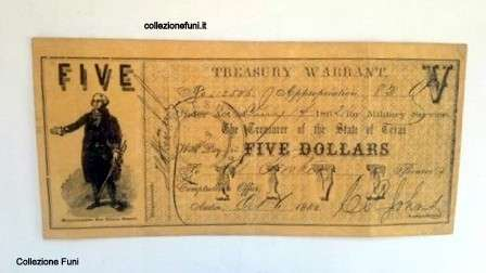 Banconota. USA Treasury Warrant Five Dollars